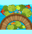 top view of fish and waterlily in the pond vector image vector image