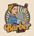 Vintage barbershop colorful print