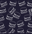 white line burger fast food seamless pattern vector image