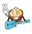with guitar macadamia mascot cartoon style vector image vector image