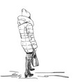 woman in winter warm clothes coat with hood hat vector image vector image