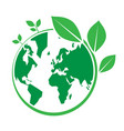 world environment day green earth and leaf design vector image vector image
