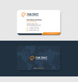 yellow creative business card with linear map vector image