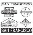 landmarks of San Francisco grunge vintage labels vector image