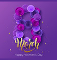 8 march elegant greeting card ultra violet paper vector image