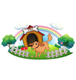 A dog and a rainbow vector image vector image