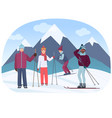 a group of people riding skies in the mountains vector image vector image