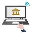 banking online concept with laptop and bank icon vector image vector image
