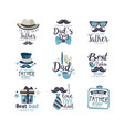 best dad logo design set happy fathers day vector image vector image