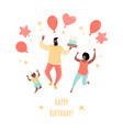 Birthday greeting card with a happy family