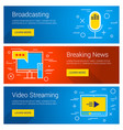 broadcasting breaking news video streaming line vector image