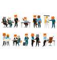 business cat cartoon icons set vector image