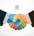businessman handshake jigsaw infographic Template vector image vector image