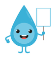 Cartoon water drop character with blank sign vector image vector image