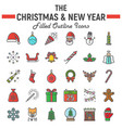 christmas filled outline icon set new year signs vector image vector image