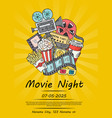 cinema doodle icons poster for movie night vector image vector image