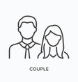 couple flat line icon outline vector image vector image