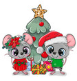 cute cartoon mouses near cristmas tree vector image
