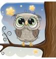 cute cartoon owl on a brunch vector image vector image
