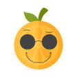 emoji - cool orange with sunglasses isolated vector image