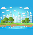 environment of city with sea and beach background vector image vector image