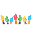 fan foam fingers hands up with glove with number vector image vector image