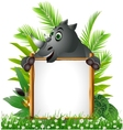 funny rhino with blank sign vector image vector image