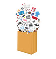 general shopping item floating over paper bag vector image vector image