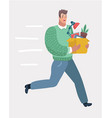 guy office worker running away from his angry boss vector image