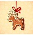 Hand-drawn gingerbread deer with red ribbon vector image vector image