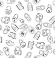 hand drawn padlocks background seamless pattern vector image vector image