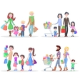 Happy Family Buying Goods and Gifts in Stores vector image vector image