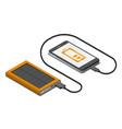 isometric solar powerbank charging a smartphone vector image