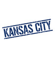 kansas city blue square stamp vector image vector image
