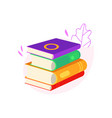 lying stack of closed books with colorful covers vector image vector image