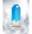 milk packaging blue splash in milk vector image