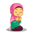 moslem girl praying vector image vector image