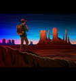 mountain and monument valley with tourist night vector image