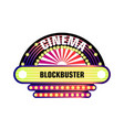 movie and cinema retro signboard of neon light vector image vector image