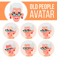 Old woman avatar set face emotions senior