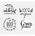 Organicbioecology natural labels set Green logo vector image vector image