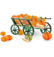 pumpkins cart isolated on white fall vector image