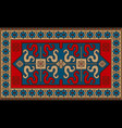 rug with ethnic pattern dragons on the blue center vector image vector image