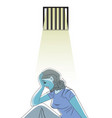 sad woman in prison vector image