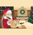 santa claus writing christmas presents list vector image