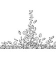 sketch falling coins money flowing top down vector image vector image