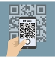 Smartphone concept with a qr code scanning vector image vector image
