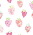 Strawberries seamless pattern - pastel colors vector image