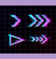 synthwave vaporwave retrowave glitch arrows vector image vector image