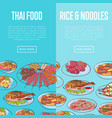 thai cuisine flyers with asian dishes vector image vector image